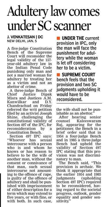 The Supreme Court Constitution bench will decide plea on adultery law change. According to law only man would be punished and not a married woman for adultery by treating her as a victim and not an abettor of crime.  #CriminalLawyersinHyderabad        #CriminalAdvocatesinHyderabad #AbhayaLegalServices