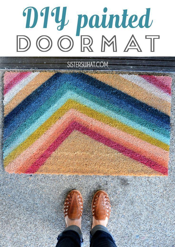 A Diy Painted Door Mat For Front Door Using Spray Paint Handmadewithjoann Joann Door Mat Door Mat Diy Diy Spray Paint