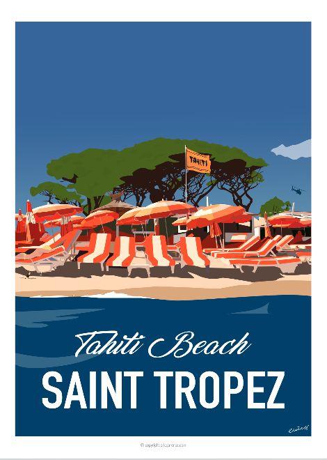 Affiche réalisée pour un amoureux de Saint Tropez, des plages de Ramatuelle et de son fameux hôtel restaurant «Tahiti Beach». Affiche de 2016 faisant partie de la collection…