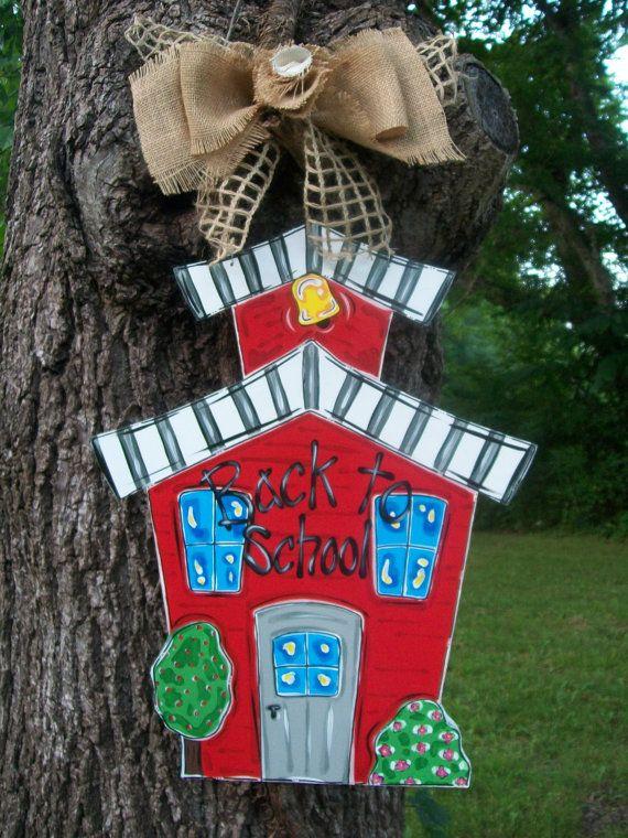 School house door hanger back to school door by BluePickleDesigns, $45.00