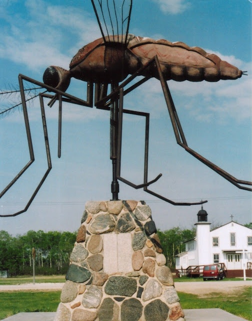 """The giant mosquito monument in Komarno, Manitoba. Komarno means """"mosquito infested"""" in Ukrainian. Komarno is proud to be known as the """"Mosquito Capital of the World""""."""