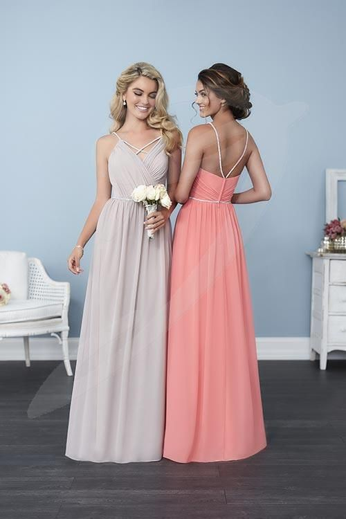 Balletts Bridal - 24196 - Bridesmaids by Jacquelin Bridals Canada - The beaded spaghetti straps to this gown suspend a bleated bodice, connected just above the neckline forming an 'X' across the chest. The waist is met with a thin trail of glinting stones above a long chiffon skirt. Pictured in: Coral, Taupe