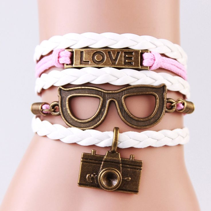 2 Piece Bracelet, Lock Key Cupid's Arrow Charms, Infinity, Colorful Leather, Great Couple Gift