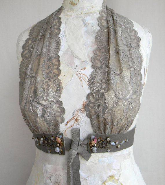 Olive Grey Steampunk Leather Body Harness Underbust Lace Bodice  Sexy Top Women Harness with Amazonite Jasper Beads And Organic Roses on Etsy, $99.90