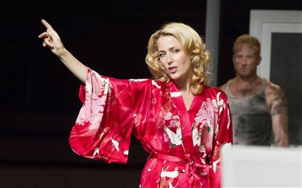 A Streetcar Named Desire at the Young Vic Theatre. Gillian Anderson as Blanche DuBois, Ben Foster as Stanley