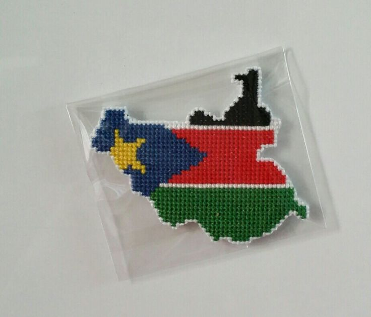 [ South Sudan  flag map ]   *handmade item.   *Instant digital download: 1 PDF included.   *colors: 2 DMC colors.   *stitch count: 49w X 38h    *price: $3  ( Payment path = www.paypal.me/crossstitch )