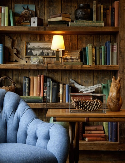 rustic library; love the pic hanging on the inside of book shelf