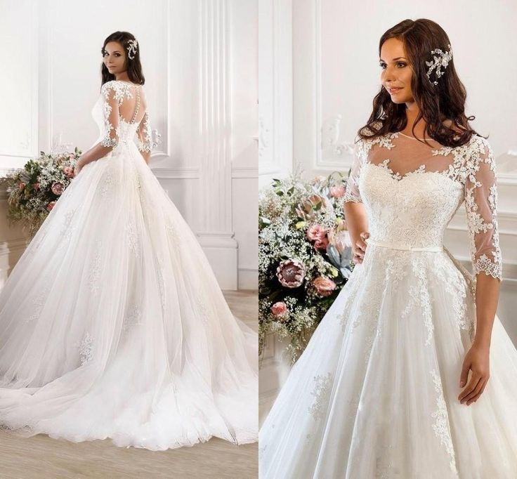 2016 winter half long sleeves a line lace wedding dresses for Crew neck wedding dress