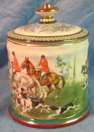 Fox Hunt Hunting Limoges Repro Covered Biscuit Cannister or Tobacco Jar | eBay
