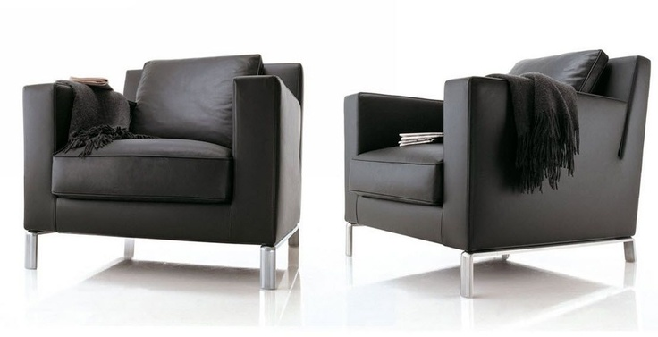 Contemporary leather armchair lido by hannes wettstein for Sillones de sala modernos