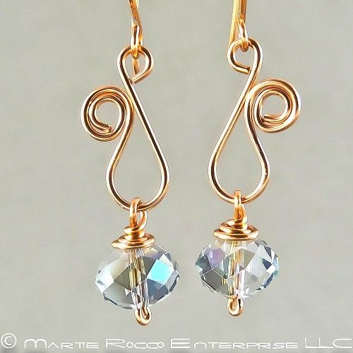 Sapphire Swarovski crystal earring with copper wire vine swirl - cute
