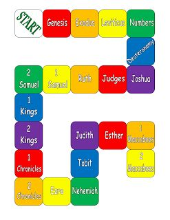 Help students learn about the 73 books of the Bible (Catholic) and how the books are divided into categories. This board game can be used in numerous ways to teach children the books of the Bible.