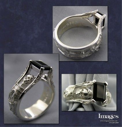 Our skeleton ring design, created using .925 sterling silver. This skeleton ring design was set with a emerald cut black onyx center. #imagesjewelers #customjewelry #skeletonring #onyx