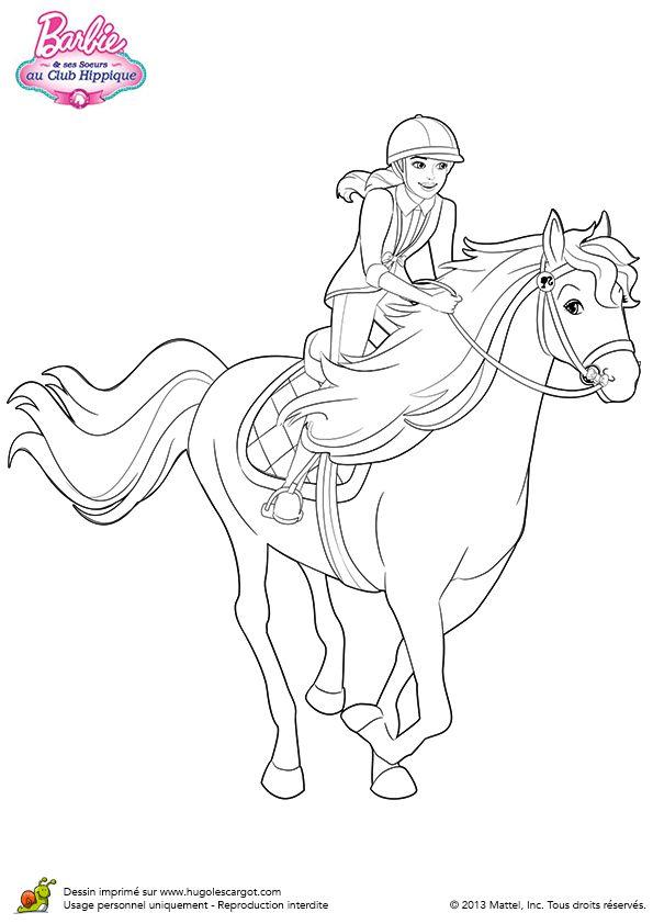 Coloriage stacie au trop avec son cheval sur hugolescargot - Coloriage barbie cheval ...