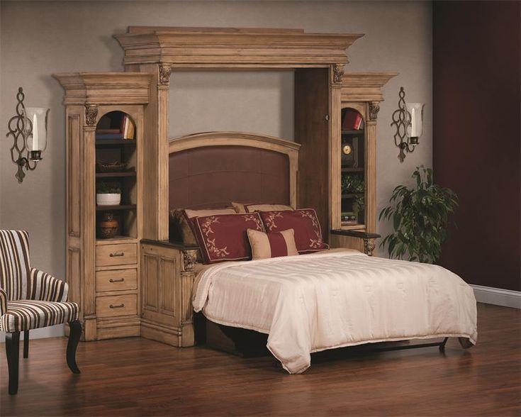 Amish Serenity Wall Bed and Desk with Side Storage is hand crafted in sold wood and creates a hotel-like experience for your guests.
