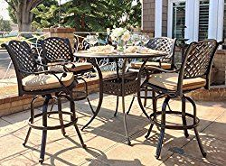 Nevada Cast Aluminum 5-Piece Patio Bar Set Outdoor Furniture with Premium SUNBRELLA cushions (Sesame)