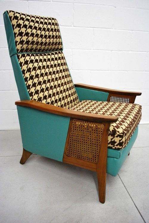 Mid-Century Eames Era Brown Houndstooth Recliner - Via