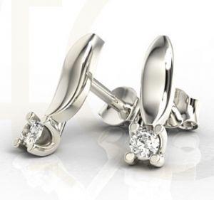Kolczyki z białego złota z diamentami LPK-8108B