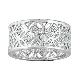 Silver Plated Band with Cubic Zirconia Flowers