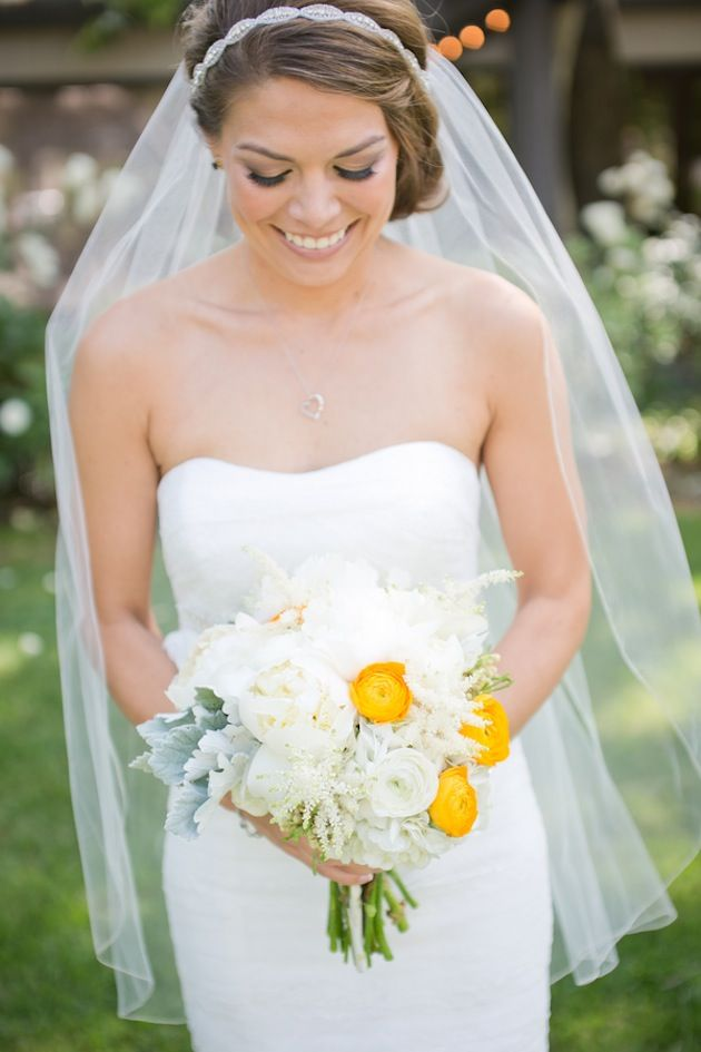 white bouquet with pops of yellow | Kaysha Weiner Photographer | Bridal Musings   Read more: http://bridalmusings.com/2013/09/yellow-and-grey-wedding-pin-wheels/