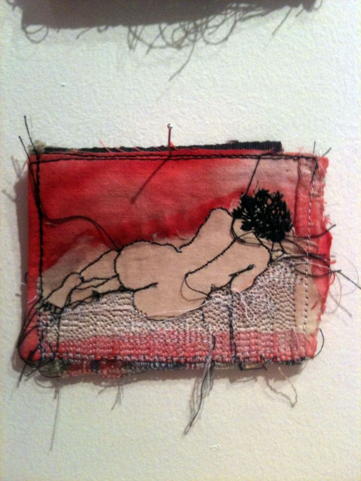 Artist: Cecile Dachary. Much of her embroidery work focuses on representations of the body and how the human form can be related to working materials. She attempts to express intimacy, fantasy, inner secrecy in her work. The sketch-like embroidery feels frenetic, fast and somewhat out of control.