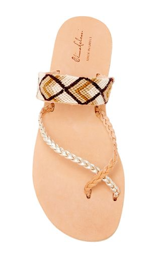 Danae Braids In Neutral Leather & Cotton Sandal by ELINA LEBESSI for Preorder on Moda Operandi
