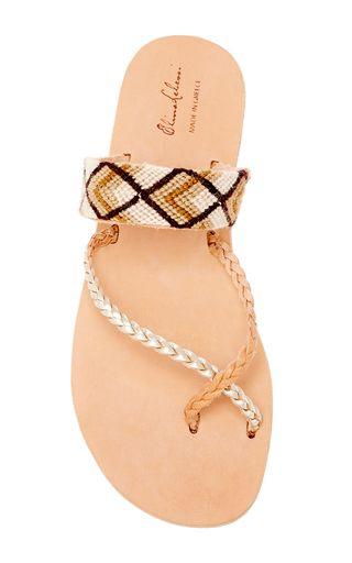 Danae Braids In Neutral Leather & Cotton Sandal by ELINA LEBESSI for Preorder on Moda Operandi