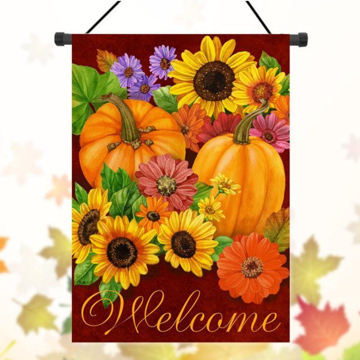 Thanksgiving Pumpkin Christmas Halloween Welcome Autumn Fall Garden Flag Banner