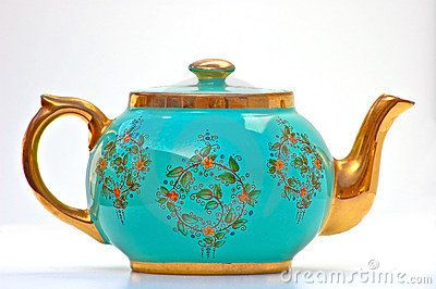 Beautiful antique turquoise & gold teapot! Going to decorate my dream kitchen in my dream house with tea pots!