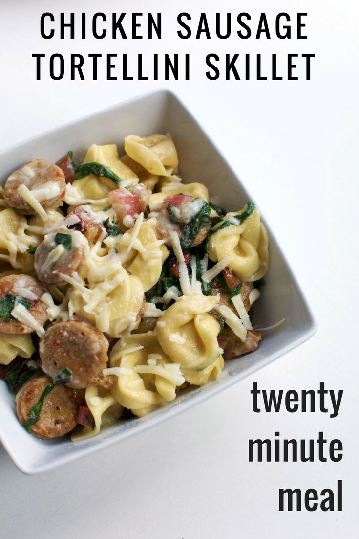 This Chicken Sausage Tortellini Skillet recipe is about to be your new go-to 20 minute meal. | themillennialmenu.com
