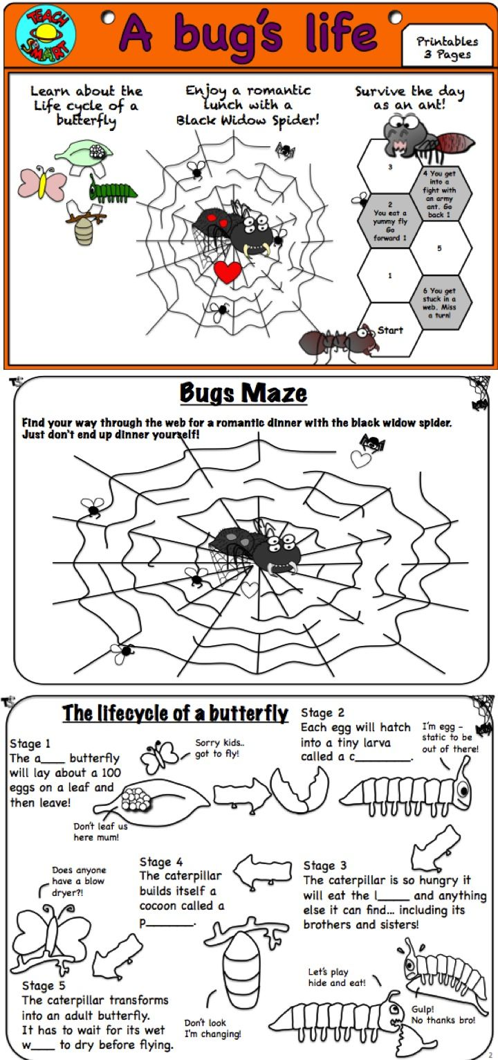 FREEBIE: Includes 3 fun activities: -Learn about the life cycle of a butterfly -Enjoy a romantic lunch with a Black Widow Spider -Survive the day as an ant! This is a free sample from my 30 page activity pack on Bug's math and literacy tasks http://www.teacherspayteachers.com/Product/A-bugs-life-1085344
