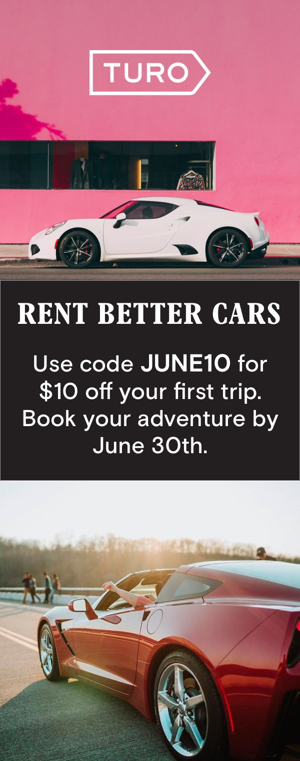 """[Turo] is like Airbnb, but for real people's cars."" - USA Today.  JUNE10 code entitles you to US$10 off one new Turo booking. Book by 11:59pm PST 6/30/17 and complete trip by 12/31/17. Limit 1 discount per new customer.  Enter JUNE10 in the �Promo code� field on your Account page prior to booking. Non-transferable. Not redeemable for cash. Turo reserves the right to any remedy in the event of abuse."