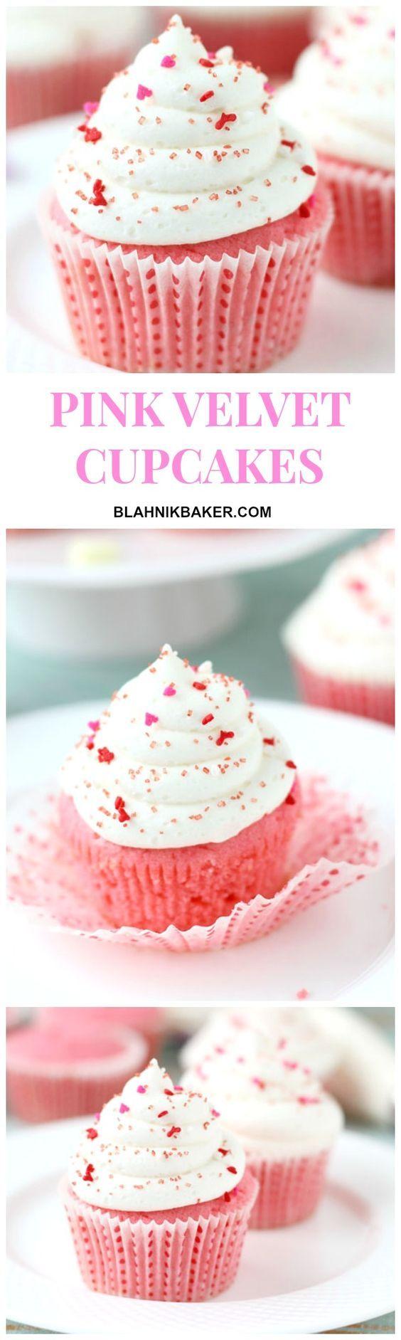 PINK VELVET CUPCAKES ~ perfect for valentine's day, baby shower or girl birthday party. http://blahnikbaker.com