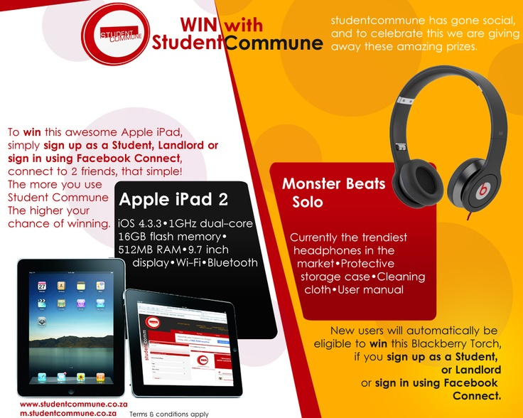 Our last competition. The Winners received an Apple iPad 2 and Beats By Dre Solo headphones.    www.studentcommune.co.za