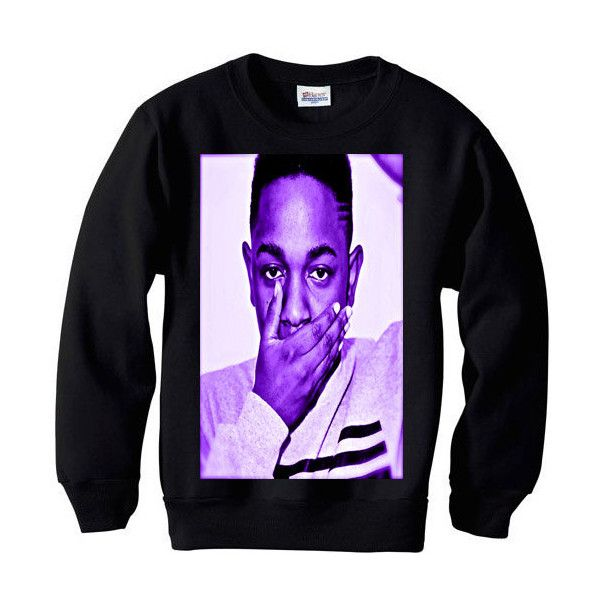 Kendrick Lamar dr dre west coast black hippy tde asap rocky wiz... ($35) ❤ liked on Polyvore featuring tops, shirts, sweaters, crewnecks, crew neck shirt, graphic shirts, hippie shirt, black top and rock n roll shirts