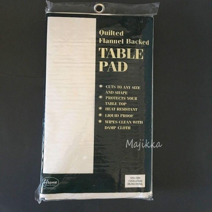 Elrene Dining Table Protector Pad 52x108 Flannel Backed Vinyl Spill Resistant  #Elrene