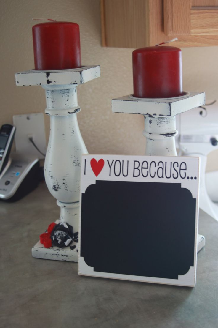 Cute Chalk Board -I love you because... Board with vinyl lettering. $10.00, via Etsy.