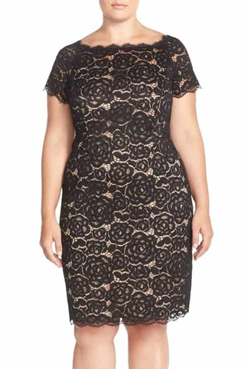 c6731a76 Adrianna Papell Off the Shoulder Lace Sheath Dress (Plus Size) 2019 ...