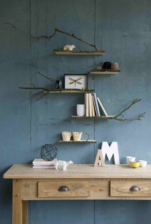 Legplank natuur - wooden shelf with branches