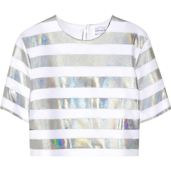 Jonathan Saunders Bibbi holographic striped crepe top found on Polyvore