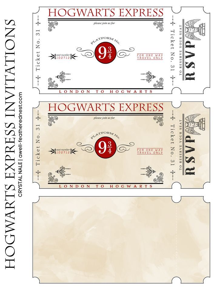 So Easy To Customize With This Harry Potter Train Ticket Printable Harrypottermem Harry Potter Invitations Harry Potter Kids Harry Potter Party Invitations