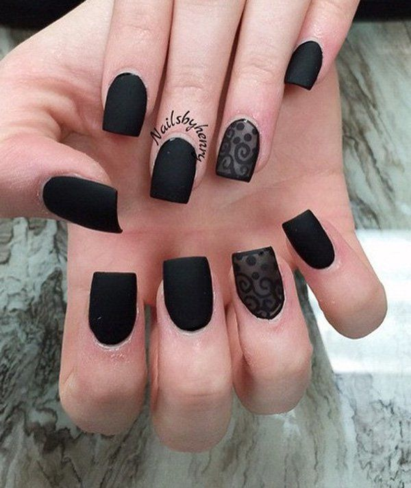 Matte black nail polish with lace design. Be bold and black with this amazing looking nail art that is easy to recreate and gives your hands a wonderful impact.