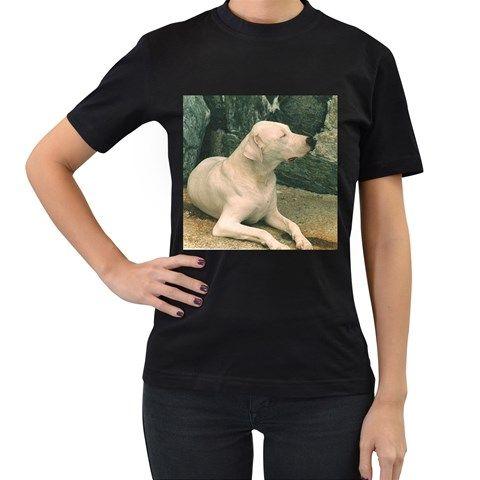 Dogo+Argentino+Laying++Women's+T-Shirt+(Black)