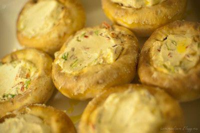 fylt sopp og bakt camembert