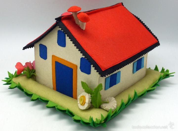 Costurero infantil tela fieltro en forma casa