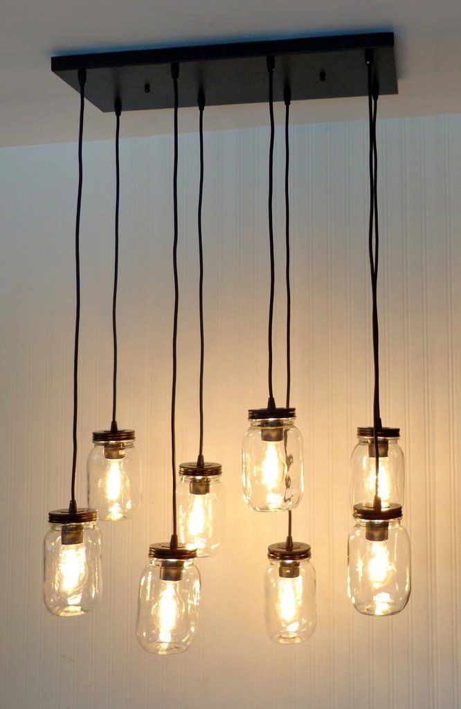 Mason Jar 8 Light Pendant Chandelier New Quart Clear Fixture