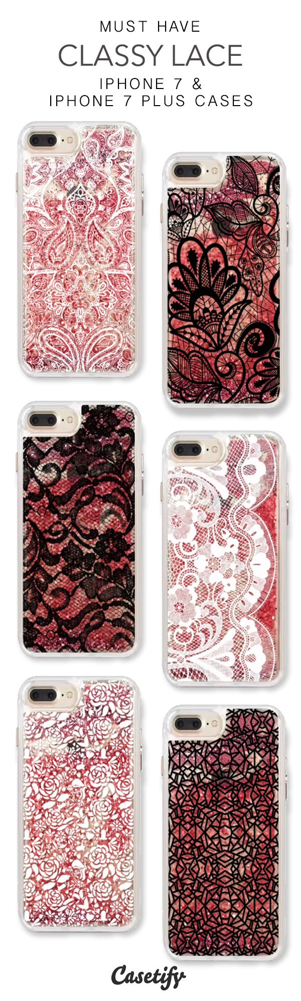 Must Have Classy Lace iPhone 7 Cases & iPhone 7 Plus Cases. More protective liquid glitter pattern iPhone case here > https://www.casetify.com/en_US/collections/iphone-7-glitter-cases#/?vc=grpxAOnseo