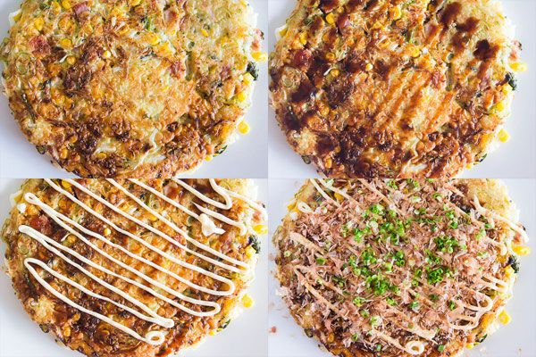 Okonomiyaki! It's like a Japanese Pizza you cook up in a frying pan. A great way to get rid of those leftovers in the fridge.