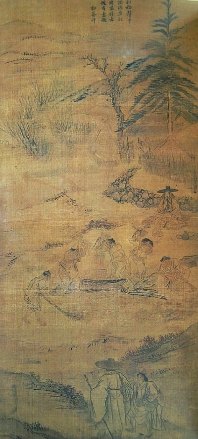 (Korea) 打稻樂趣, 1778 Folder Screens by Kim Hong do (1745- 1806). color on paper. National Museum of Korea.