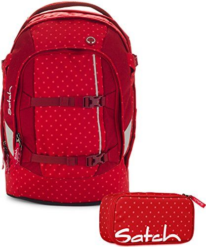 Satch by Ergobag Schulrucksack-Set 2-tlg Dotty 977 rot gepunktet
